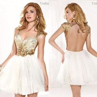 Reference Images Tulle Sweetheart 2014 New Tarik Ediz Charming Beading Sequin Sweetheart Sleeveless A-Line Short Mini Tulle Backless Prom dresses Cocktail Homecoming gown