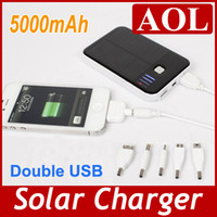 Wholesale Black and White mAh Solar Panel Powered Back Up Battery Double USB output Charger for Cell phone tablet PC