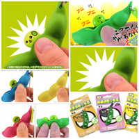 Wholesale mobile phone Strap keychain key Pendant Vent toy green soy bean you happy Trick Funny Toys