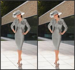 2014 silver taffeta mother of the bride dresses strapless 3 4 long sleeve knee length flowers jacket ruffle beading beads zipper