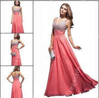 Wholesale Designer Elegant Beaded Watermelon Chiffon Pageant Dresses For Women Formal Dresses Cheap Dresses Same