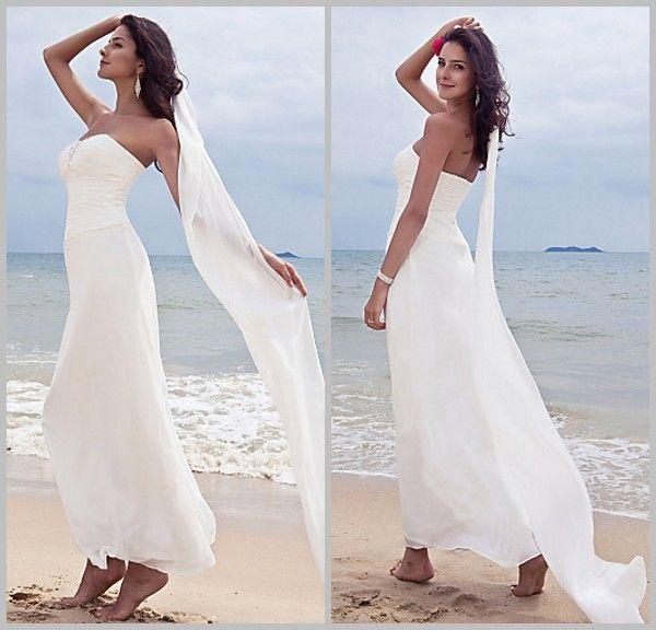 Simple beach wedding dresses sheath sweetheart pleated for Simple ankle length wedding dresses