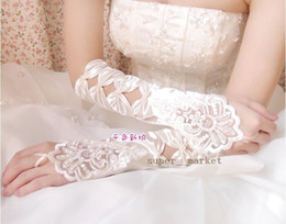 Wholesale White Lace Fingerless Embroidered Gloves Wedding Bridal Gloves pairs