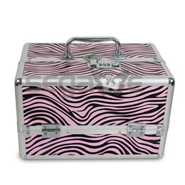 Wholesale NEW Pro Wave Zebra Makeup Cosmetic Train Case w Key Lock Aluminum PVC ABS