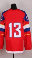 Ice Hockey Men Full 2014 Olympic Team Russia #13 Pavel Datsyuk Red Jerseys Embroidery Logos Ice Hockey Jersey Can Mix Order
