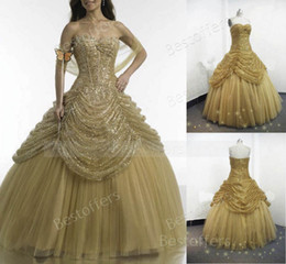 Gold Quinceanera Dresses with sequins bodice and pick up pleats over puffy tulle skirt ball gowns 15 girl prom party gowns by955