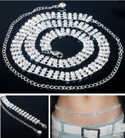 Wholesale Sexy Belly Belt Waist Chain Czech Rhinestone Crystal Clear Wedding Dress Sashes Belts rows