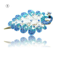 Hair Barrettes & Hairpins Rhinestone Peacock Hair Clip  New Women Hair Accessories Luxury Peacock Design Crystal Rhinestone Hair Clip Bride Hairpin For Party Feast Wedding DHL Shipping
