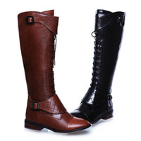 Cheap Wholesale - Winter ladies restro sheep skin leather buckle deco new booties,riding boot fashion brand knee high boots plus size 34-44