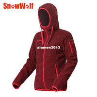 Wholesale Female outdoor fleece jacket autumn and winter windproof breathable thickening long design with a hood sweatshirt outerwear