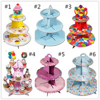 Wholesale Birthday Cake With Three Cake Stand Tier Shelf Rack Wedding Paper Cupcake Dessert Dish