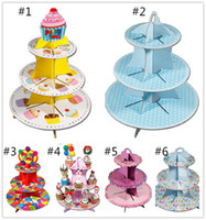 Wholesale Fashion Wedding Paper Cupcake Dessert Dish Birthday Cake With Three Cake Stand Tier Shelf Rack Fedex