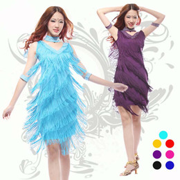 Wholesale Latin ballroom dance dress sexy tassel colors adult stage wear costumes sexy performance clothing party dresses L41