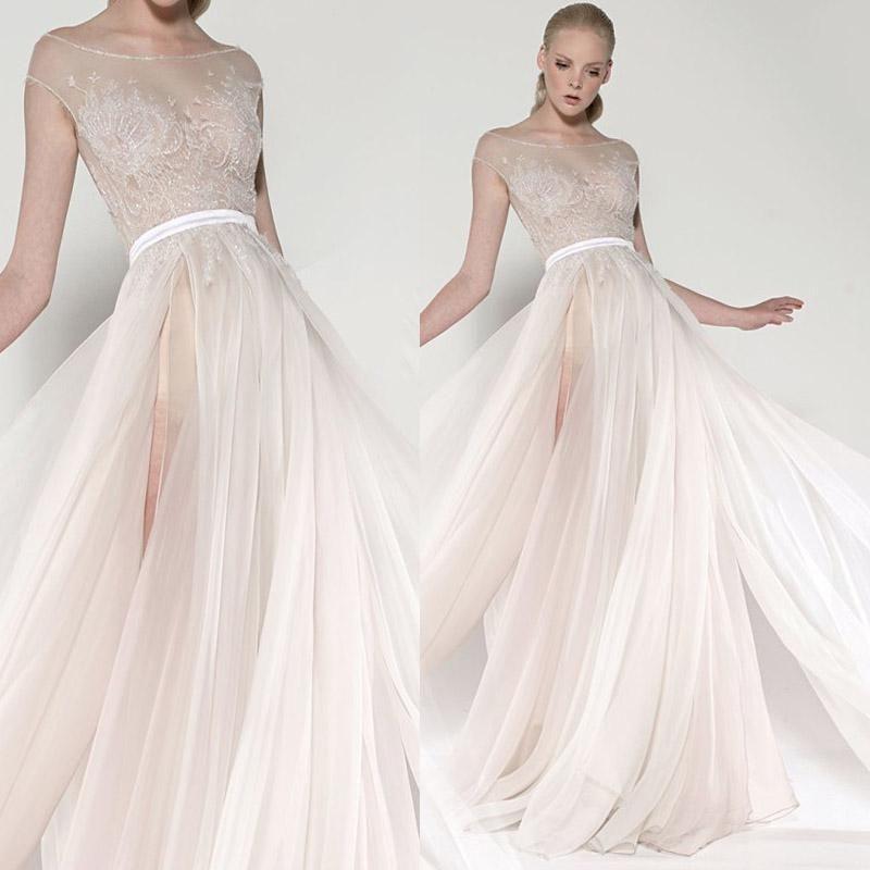 2014 Hot Sale Wedding Dresses Lace Appliques Sheer Scoop
