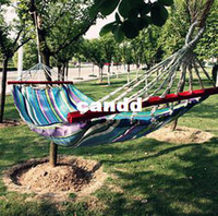 Cheap Outdoor hammock belt wooden sticks multicolour oxford fabric hammock indoor outdoor hammock swing lashing freeshipping