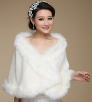 Wholesale 2014 Ivory Winter Faux Long Fur Shawl New Bridal Prom Cocktail Party Wrap Cape Wedding Accessories