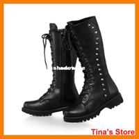 Wholesale punk women motorcycle boots black riding boots shoes knee high thick heel rivest boots winter martin boots