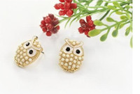 Wholesale High quality Fashion pearl owl earrings jewelry Crystal Shop