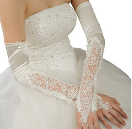 Wholesale 2014 White Ivory Wedding Party Fingerless Pearl Lace Satin Bridal Gloves