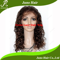 Wholesale DHL Hand tied Lace front Wig Human hair Wig Indian remy hair curly Brown Wig quot quot in stock HW24003 Juno Hair