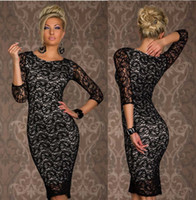 Wholesale 2015 Hot Women s Sexy Clubwear Dresses Round Neck Bodycon Lace Cocktail Party Slim Club Wear Lady s Casual Dress White Red