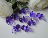 Wholesale 100pcs mm mm Mini Acrylic Clear Purple Baby Pacifier Baby Shower Favors Cute Charms cupcake decorating