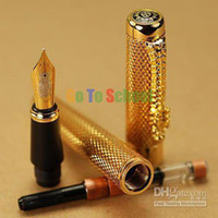 Wholesale NEW JINHAO1200 GOLDEN KGP BROAD NIB FOUNTAIN PEN DRAGON CARVED