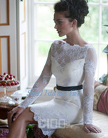 Wholesale High quality Elegant Sheath Scoop white lace and black sash Knee length Long Sleeves evening dress