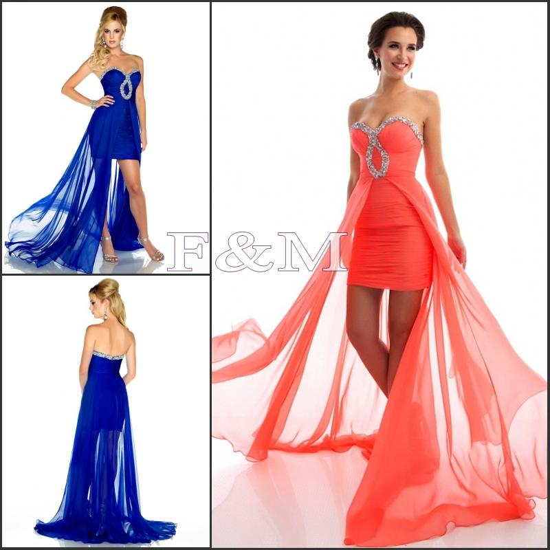 Charming Designer 2014 Sweetheart High Low Prom Dresses Chiffon ...