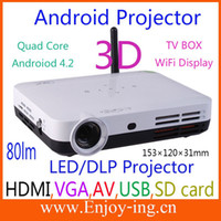 Wholesale Android TV Box D Projector Full HD P DLP LED Mini lumens Projector WiFi display Miracast wirelessly Smart TV projetores