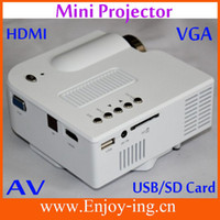 Wholesale Drop shipping Remote Portable Mini HD LED Projector quot Cinema Theater PC Laptop VGA input UC mini projetor with HDMI AV SD USBOUT