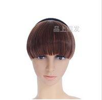 Wholesale Women s Black Brown cm Synthetic Hair Fringe Side Bangs Headbands Clip In Bangs Brazilian Hair Extensions