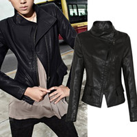 Wholesale New Fashion Women Autumn Long Sleeve Black Zippers Cardigan PU Leather Jacket Women s Outerwear Coat
