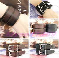Wholesale Fashion Bracelet Newest Mens Punk Bangle Double Belt Buckle Cuff Bracelet Wide Leather Wristband Jewelry