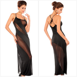 Wholesale New Fashion Women Sexy Slip Lingerie Diagonal Stripe Sleeveless Long Dress Nightgown Pencil Skirt