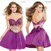 Cheap Bling Homecoming Cocktail Dresses 2014 Tarik Ediz Sequin Sheer Taffeta Pleated Cheap Short Backless Sexy Party Dress Ball Gowns Purple