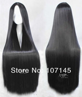 Cheap New Style!Free Shipping!Womens Heat Resistant Synthetic Hair Black Lace Frontal Wigs,100cm Straight Cosplay Anime Party Wig
