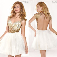 Reference Images Crew Net Tulle  Gold Sequin Bling 2014 Nightwear Sheath Homecoming Cocktail Dresses Vintage Cheap Short Tarik Ediz Backless Sexy Open Back Dress Ball Gowns