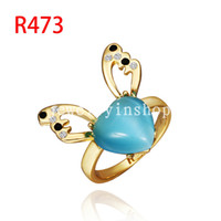 Band Rings Celtic Unisex Fashion Prom Jewelry Cute color heart-shaped opal couple rings 18K gold plated Swarovski Elements Crystal wedding Ring girl gift