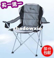 Cheap Casual Folding Chair Outdoor Tables Portable Metal Leg Chairs Fishing Chair Beach Chair With Large Armrest Light Grey