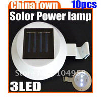 Cheap Solar Power 3 LED Garden Path Wall Fence Light Street Corridor Lamp with High Quality Free Express 10pcs lot