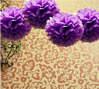 ball wholesalers low - Lowest Price quot cm Purple Color Tissue Paper Pom Poms Flower Balls Wedding Party Decoration Paper Craft Mixed Colors uPick