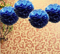 Wholesale Lowest Price quot cm Navy Blue Color Tissue Paper Pom Poms Flower Balls Wedding Party Decoration Paper Craft Mixed Colors uPick