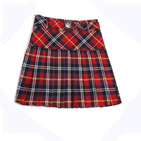 Wholesale Hot Sale New Cute Sexy Plaid Pleated School Girl Mini Skirt With Metal Buckle Belt WF