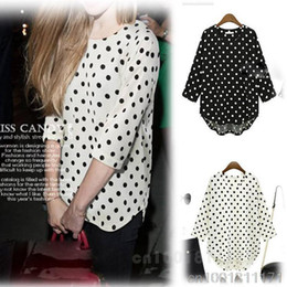 Wholesale HOT SALE TRENDY POLKA DOT HALF SLEEVE ASYMMETRIC HEM CHIFFON SHIRT WF