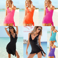 Chemise Spandex  Wholesale - Multi-piece swimsuit worn swimsuit cover the belly slit skirt fashion beach swimwear, VS006 Sexy Lingerie Set