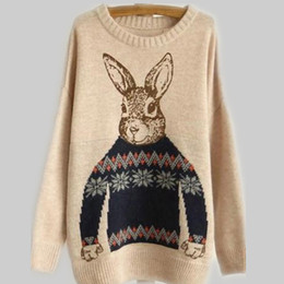 Wholesale Pull on Round Neck Rabbit Pattern Sweater womans sweaters fashion ladies Apparel
