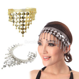 Wholesale Lady Belly Dance Hair Clasp Metal Headband Grip Sequins Bells Pendant NI5L