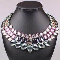 Wholesale Fashion Multicolour Ribbon Luxury Rainbow Big crystal Statement Geometry False Collar Chunky Necklaces For Lady Gift JAC