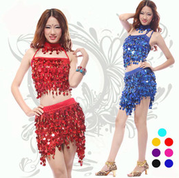 Wholesale Latin ballroom dress sexy top quality adult stage costumes sequins pieces performance clothing party dresses free size
